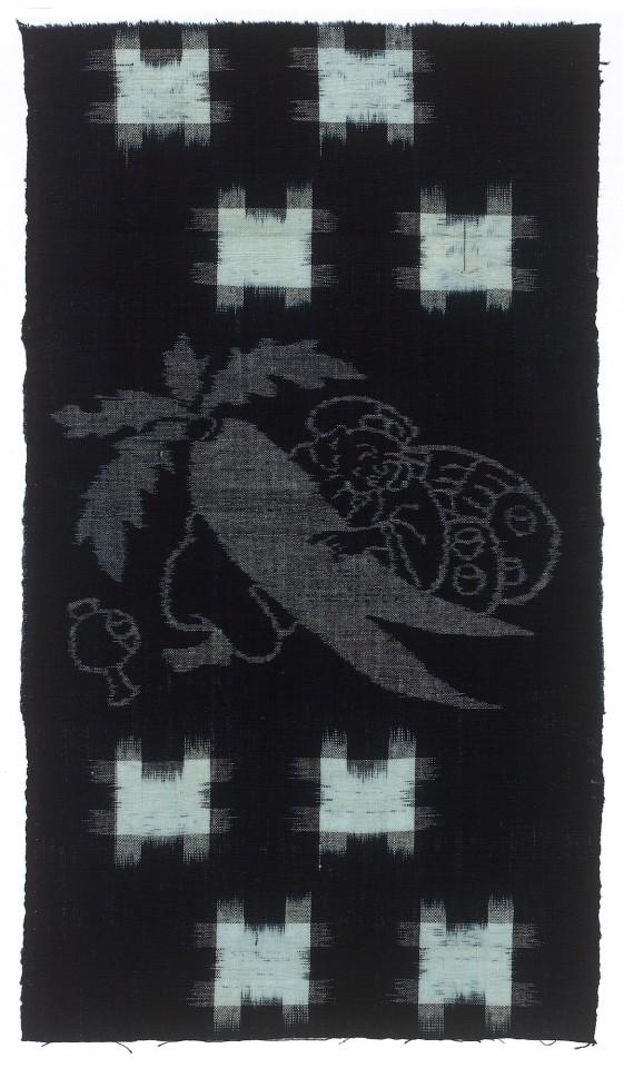 Textilien, #003954 Kasuri, Doppelmotiv. Daikoku mit Rettich und Brunnenmuster