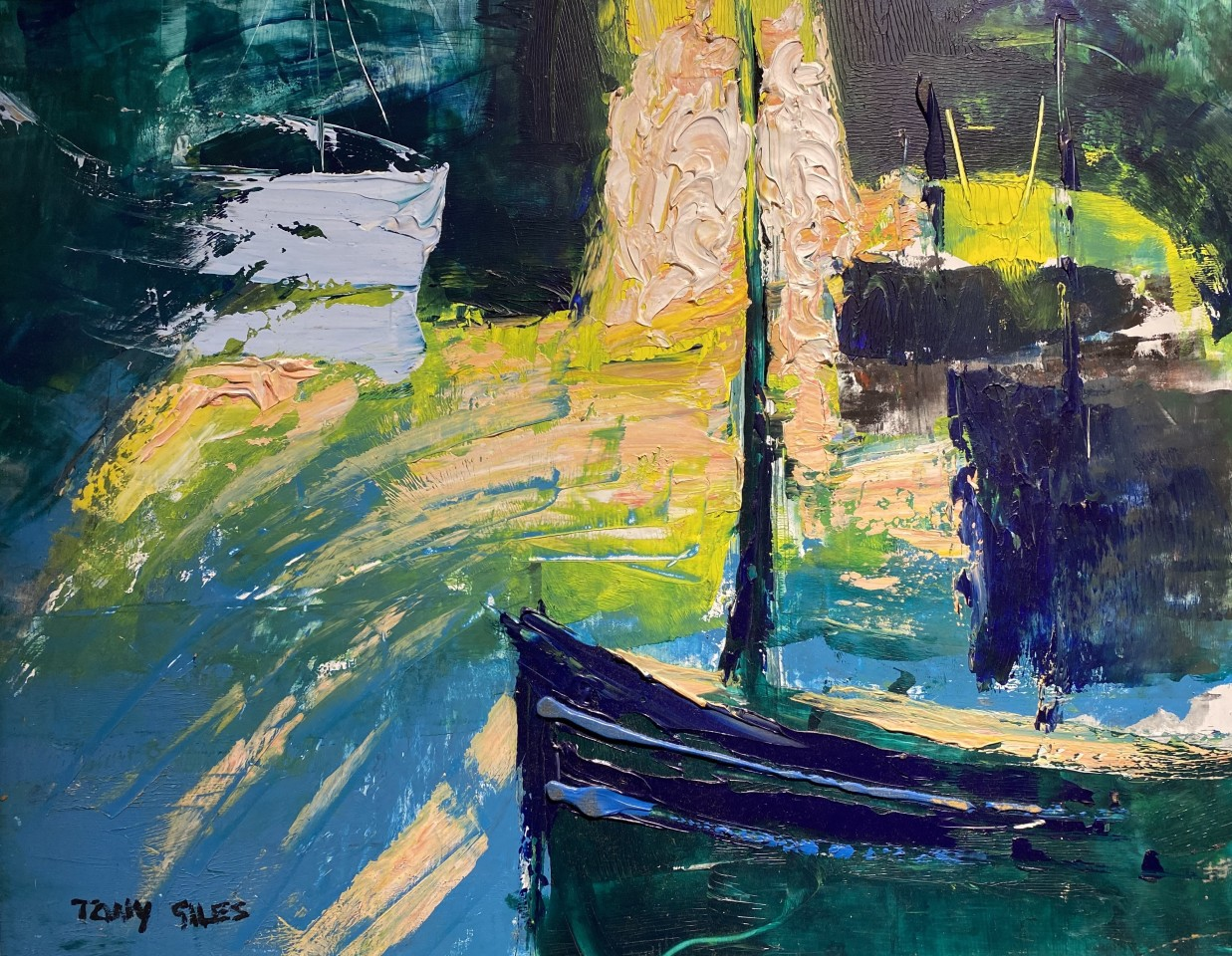 TONY GILES, BOATS IN A SUNNY HARBOUR, 24-02-1985