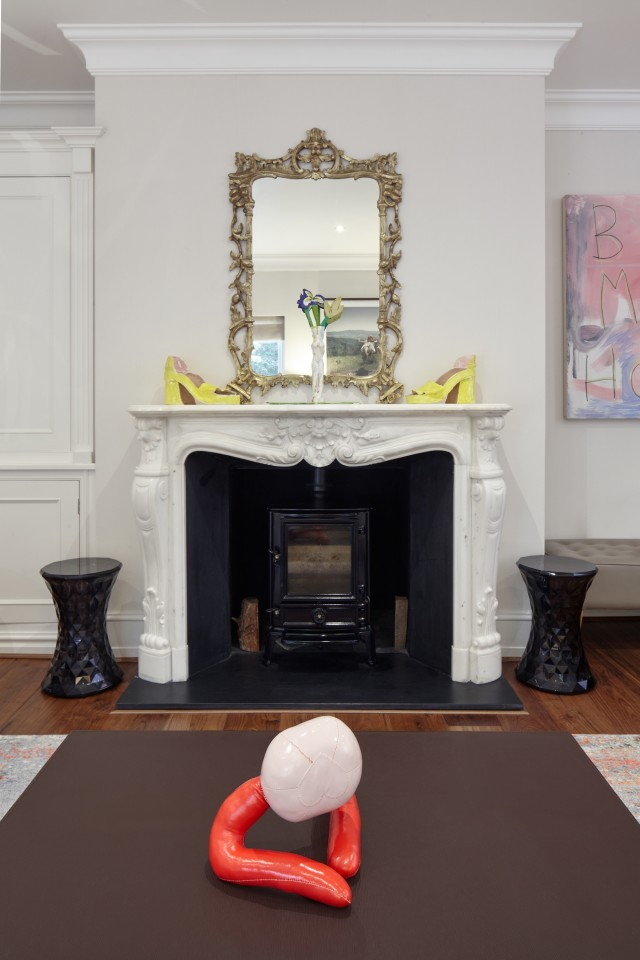 Sandra Lane (shoe sculptures on mantlepiece), Lindsey Mendick (vase and flowers on mantlepiece) and Penny Goring (sculpture on coffee table)