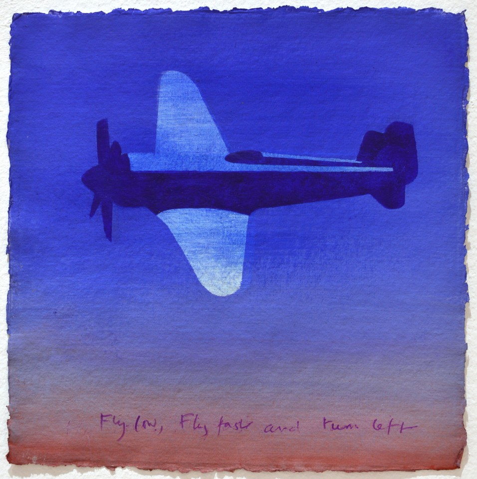Fly low, fly fast and turn left, 2009  Acrylic on paper  30 x 30 cm 11 ⅞ x 11 ⅞ inches