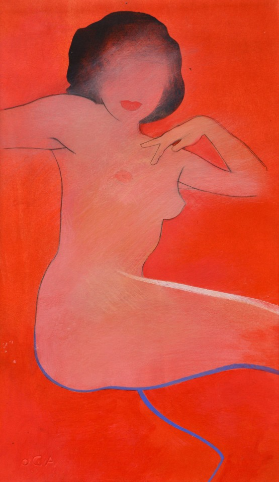 Untitled naked girl red, 2018  Pencil and acrylic on paper  43 x 23 cm 17 x 9 inches