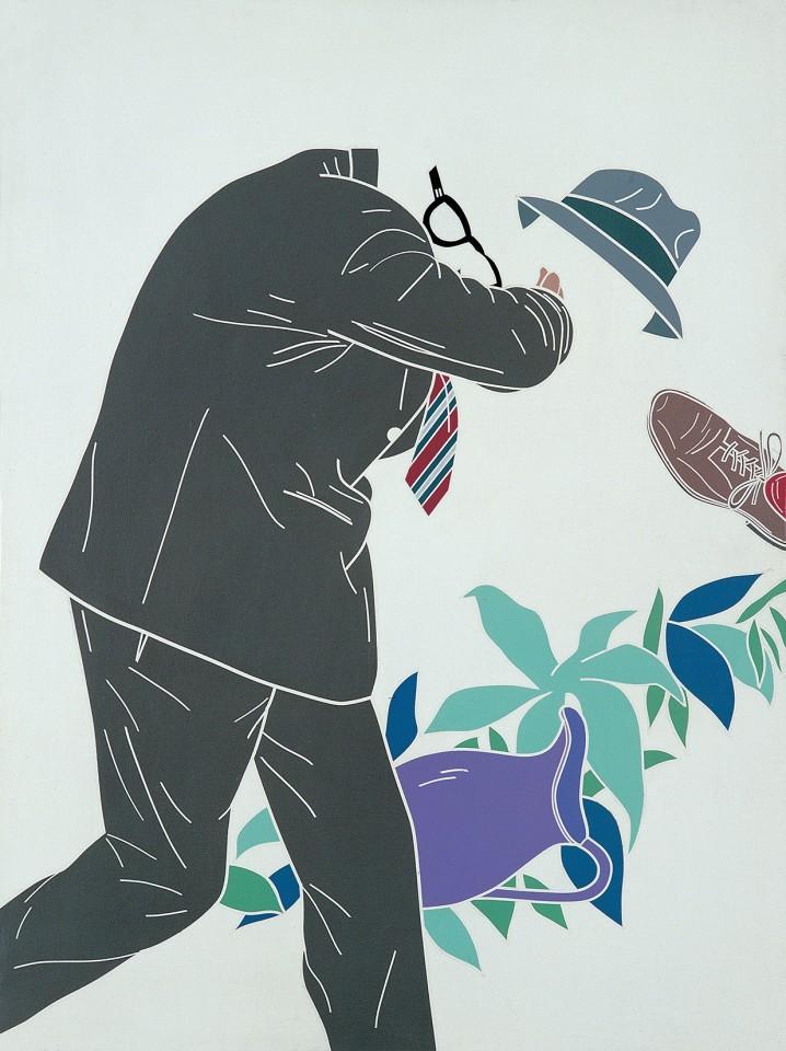 L'uomo dell'organizzazione. L'uscita dall'Eden / The Man of the Organisation. The Exit from Eden  1968  Acrylic on canvas  130 x 97 cm 51 ⅛ x 38 ⅛ inches