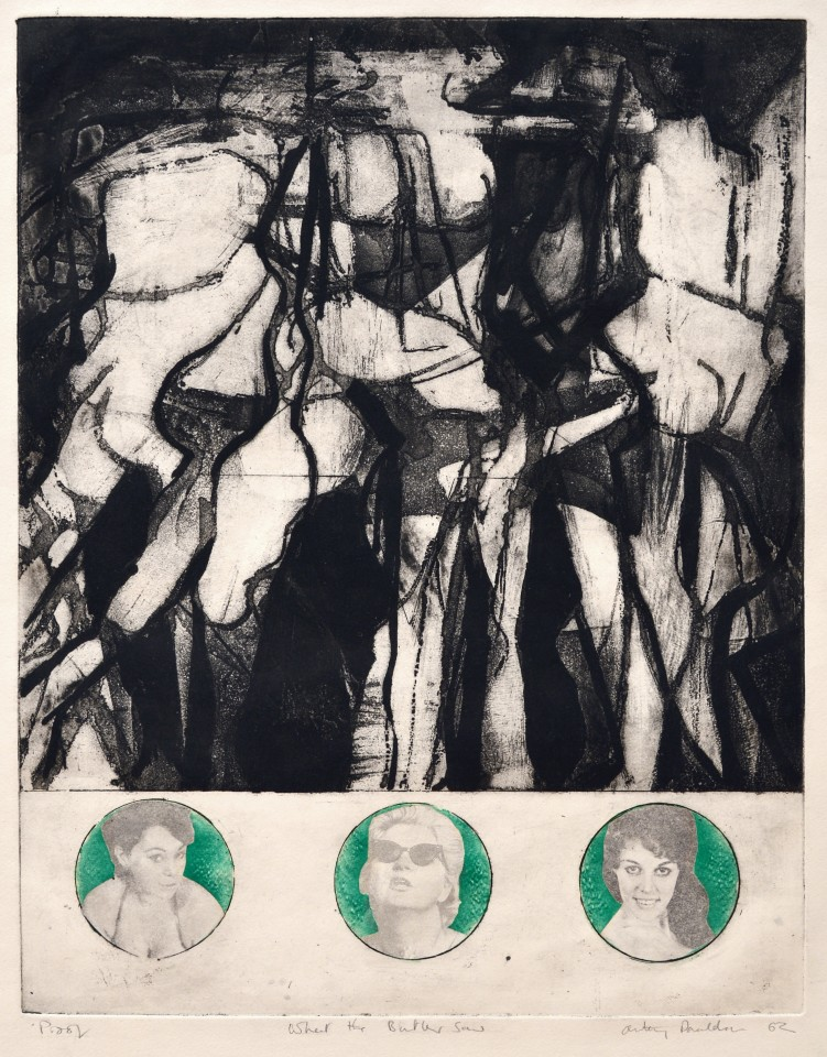 What the butler saw, 1962  Etching on newspaper transfers  57.5 x 46 cm 22 5/8 x 18 1/8 inches