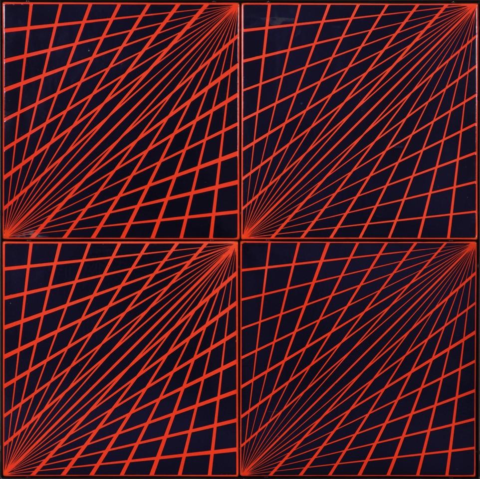 KÁROLY HOPP-HALÁSZ, Radial Enamel (Red-Blue), 1969