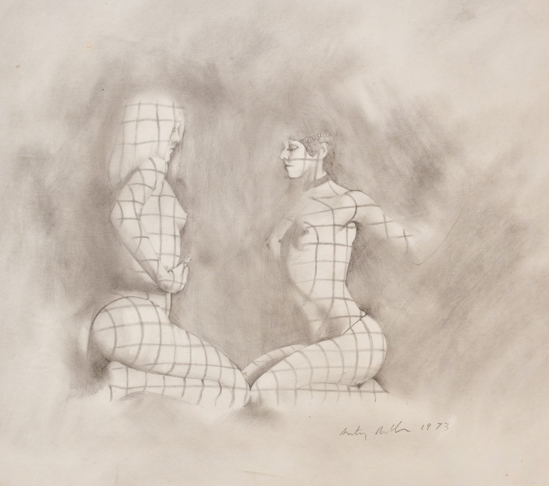Two from the Crazy Horse, 1977  Pencil on paper  35 x 40 cm 14 x 15 ¾ inches