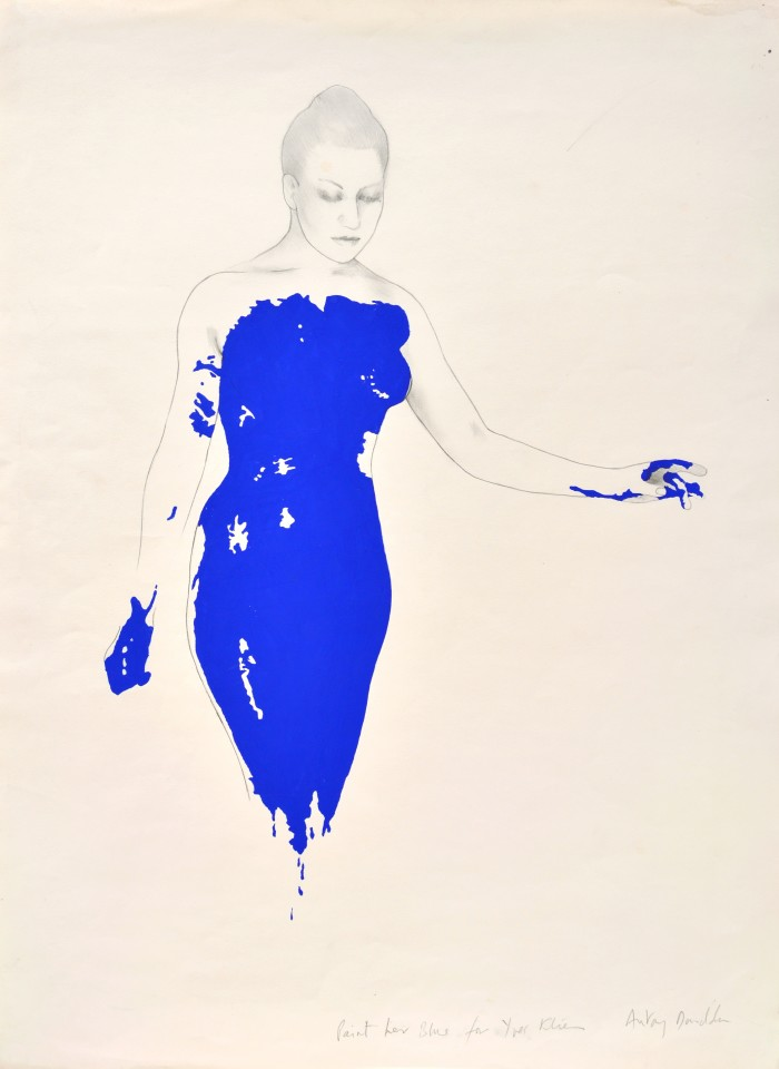 Paint her blue for Yves Klein, 1983  Pencil and acrylic on paper  76 x 56 cm 30 x 22 inches