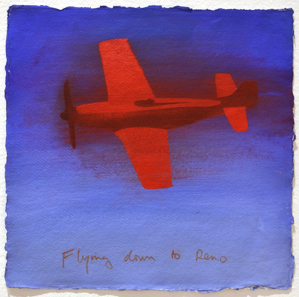 Flying down to Reno, 2009  Acrylic on paper  30 x 30 cm 11 ⅞ x 11 ⅞ inches