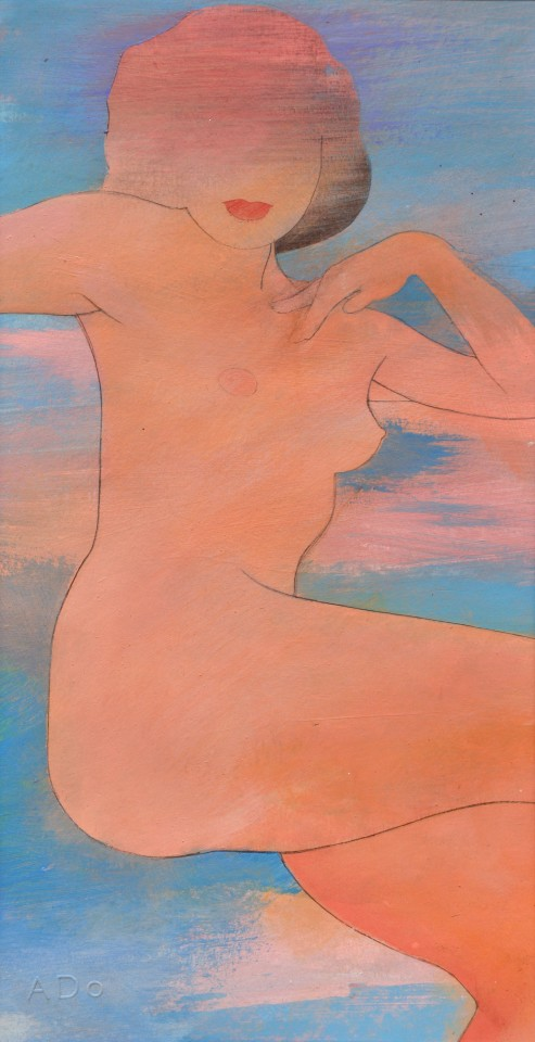 Untitled naked girl 7, 2018  Pencil and acrylic on paper  43 x 23 cm 17 x 9 inches