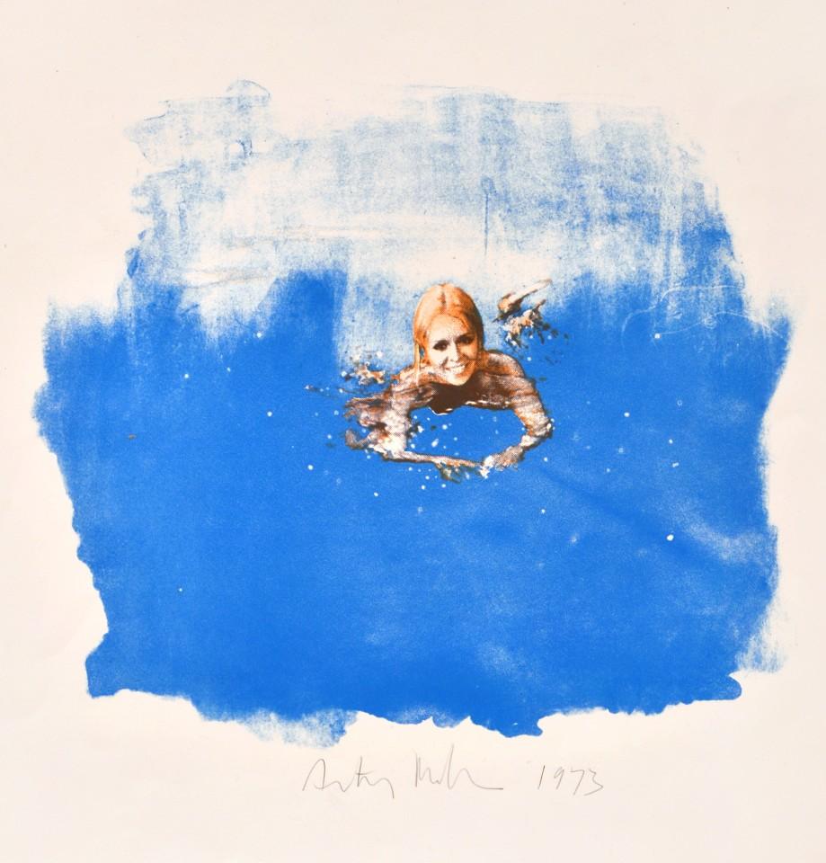 Blue Pool, 1973  Unique lithograph on paper  52.5 x 50 cm 20 ⅝ x 19 ⅝ inches