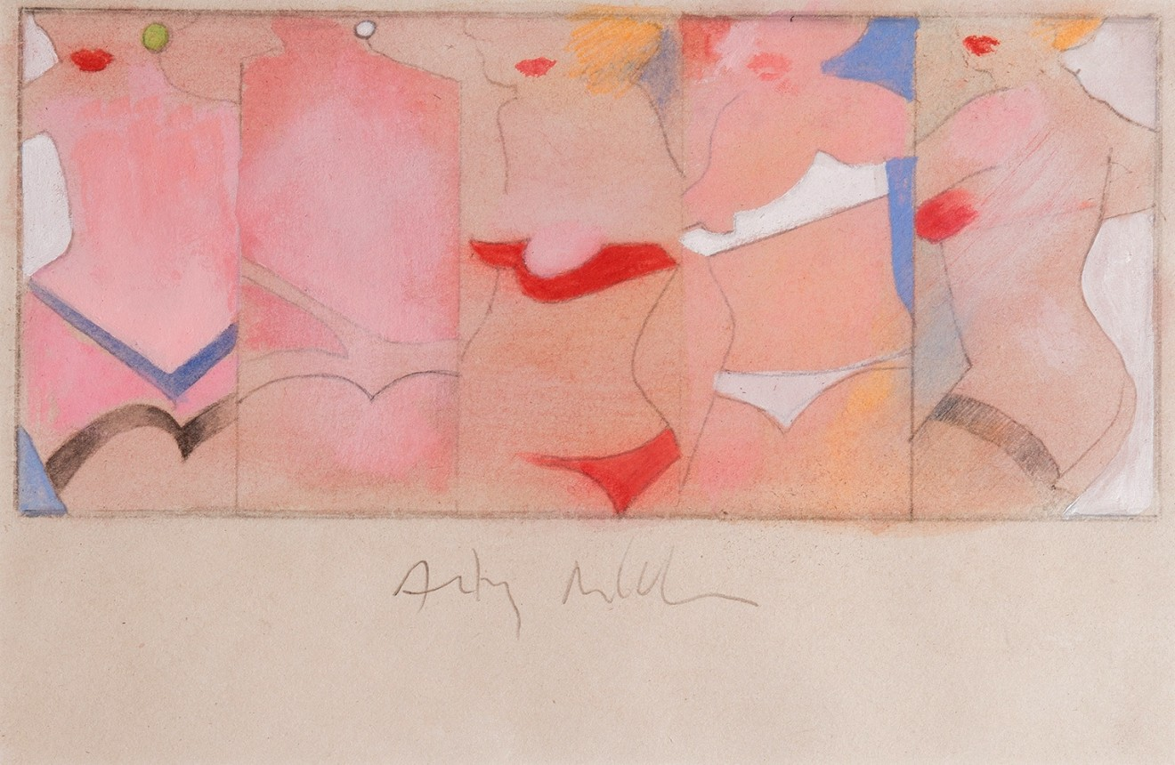 Taking Five, 1962  Carbon pencil and gouache on paper  16.5 x 38.5 cm 6 1/2 x 15 1/8 inches
