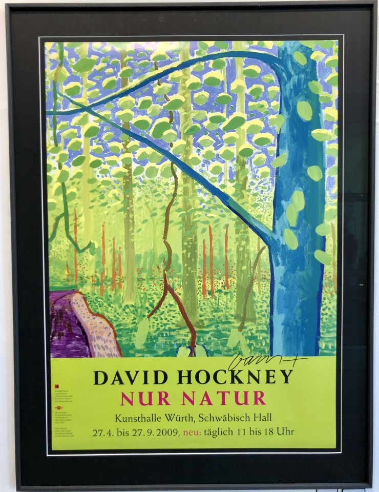 David Hockney, Hand Signed Original Poster 'Nur Natur', 2009