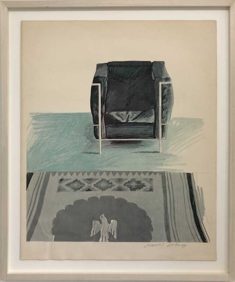 David Hockney, Corbusier Chair and Rug Hand Signed Proof, 1969