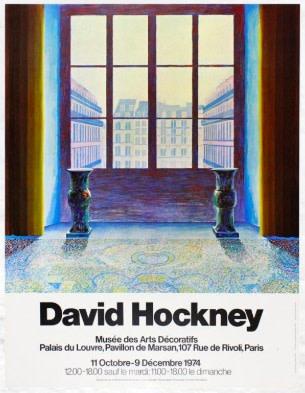 David Hockney, David Hockney Original Poster 'Two Vases in the Louvre', 1974