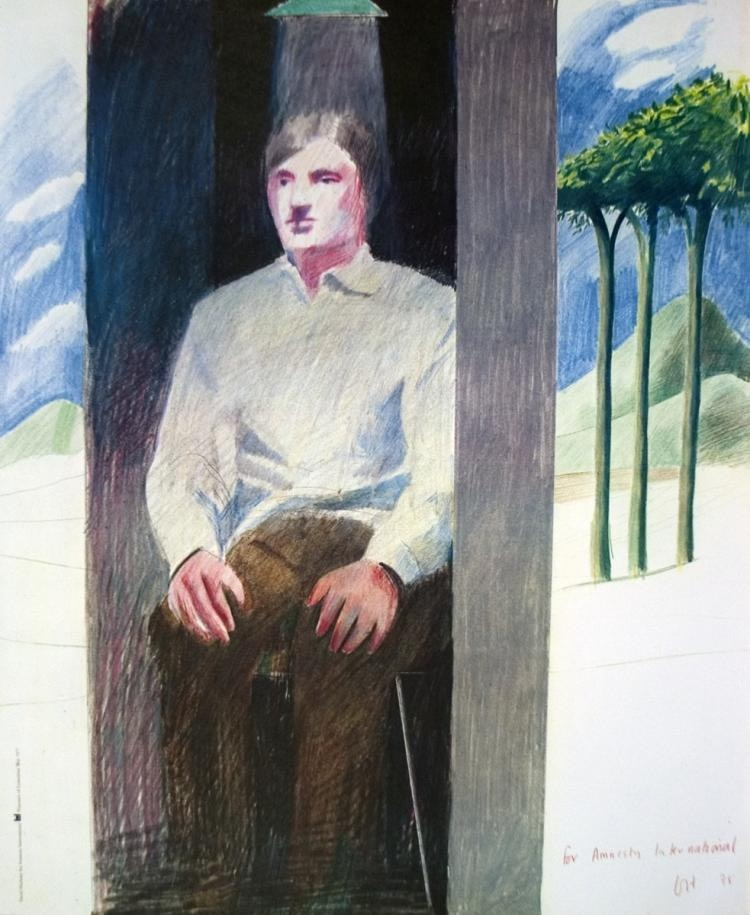 David Hockney, David Hockney Original Poster 'Prisoner, for Amnesty International' , 1977