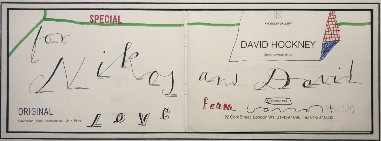 David Hockney, Personalised Hand Drawn Greeting by David Hockney Original, 1988