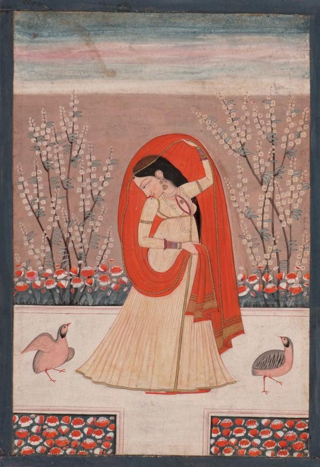 Guler or Kangra, A Princess with a pair of Partridge
