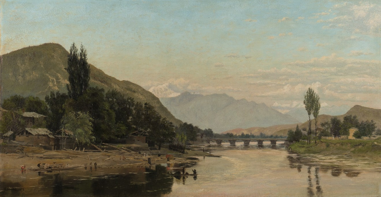 41. Captain Frederick William John Shore (1844 - 1916) , The first glimpse of the Vale of Kashmir from the tonga road at Baramulla, 1892