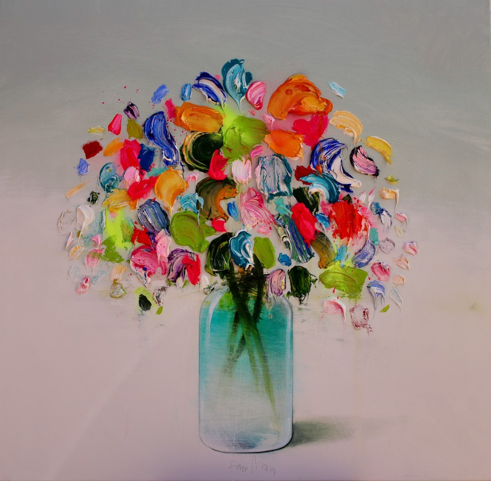 Fran Mora, Colourful Flowers II (Green Vase), 2019