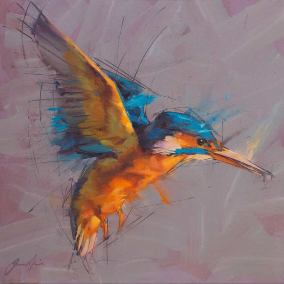 Jamel Akib, Kingfisher on Grey, 2018