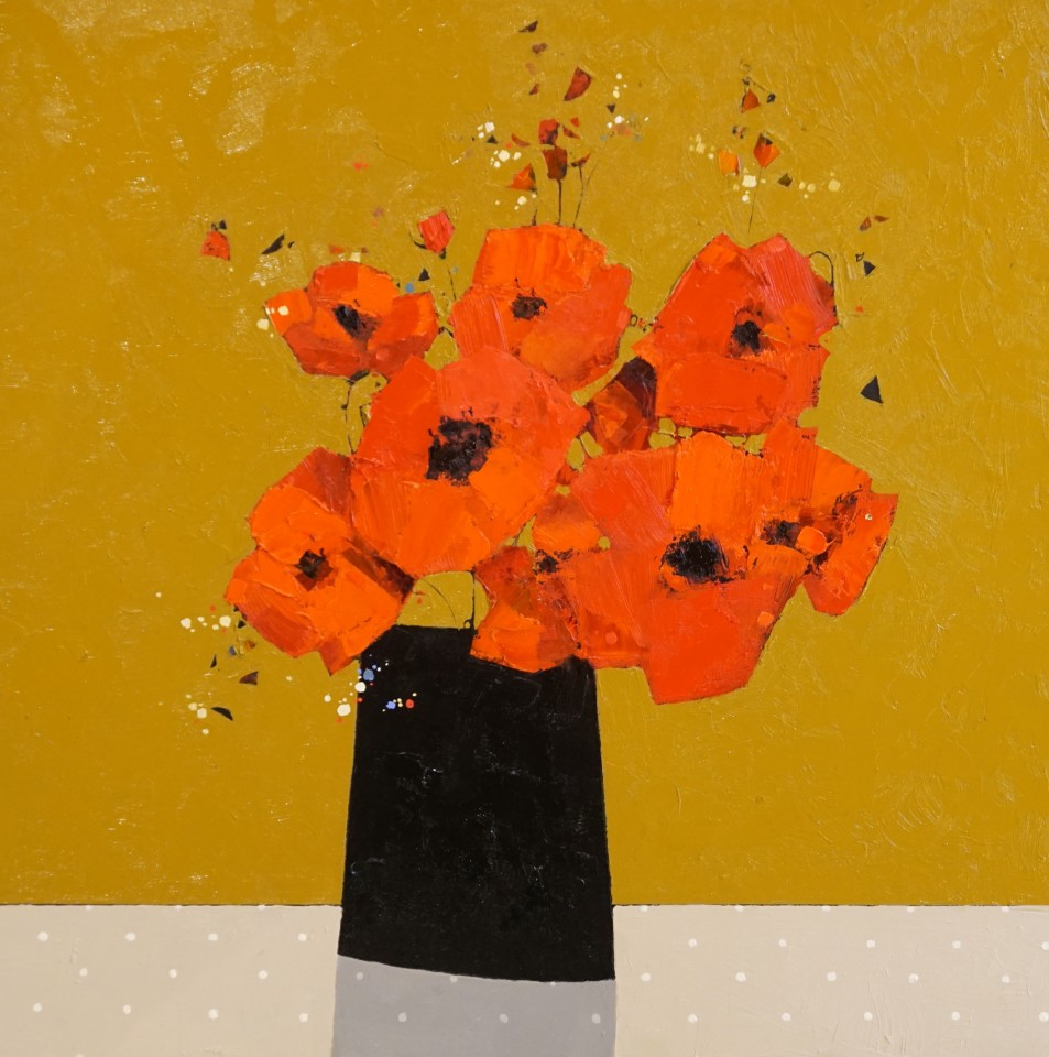 Gordon Wilson, Large Dark Vase of Poppies, 2019