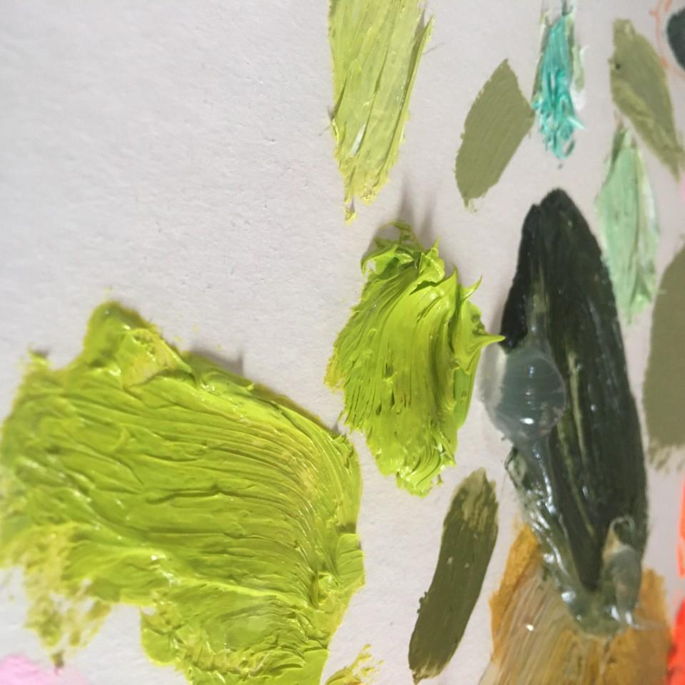 Fran Mora, Orange & Green Flowers , 2021