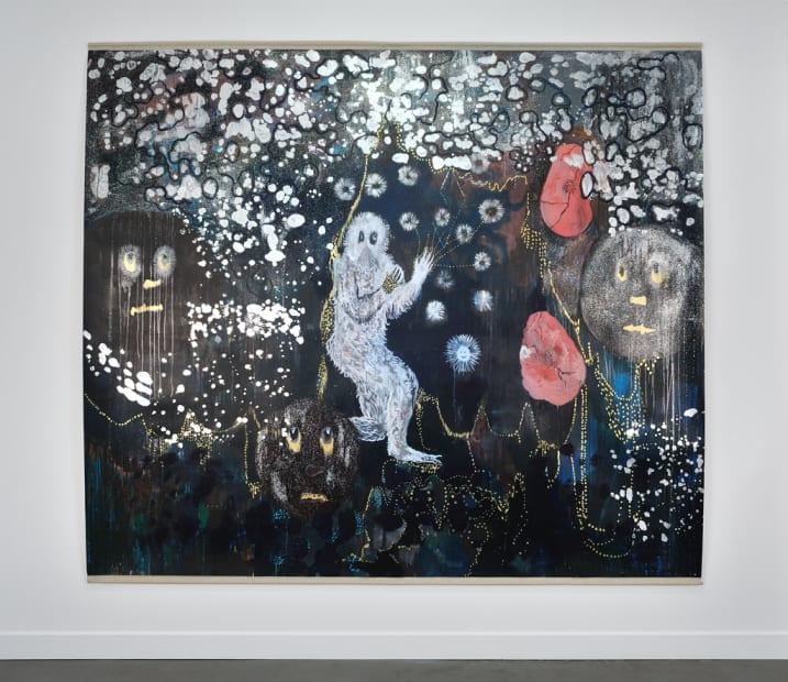 Hélène DELPRAT L'homme-singe en fausse fourrure a disparu Peinture 220 x 250 cm 86,6 x 98,4 in