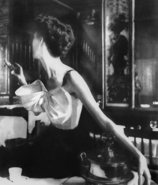 Across the Restaurant, Barbara Mullen, dress by Jacques Fath, Le Grand Véfour, Paris, Harper's Bazaar, April 1949