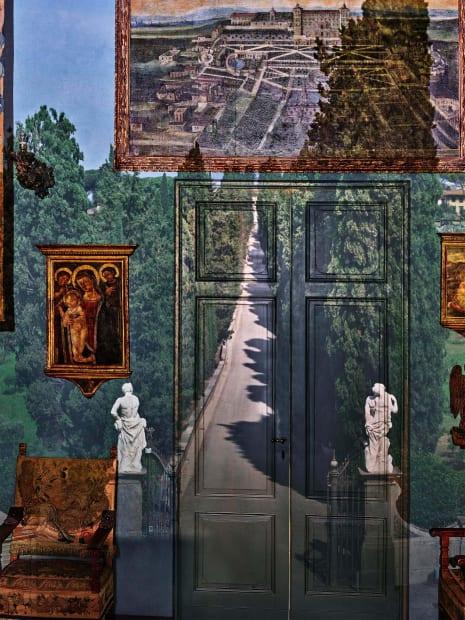 Camera Obscura: View of Villa Entrance in Blue Gallery, Villa la Pietra, Florence, Italy, 2017
