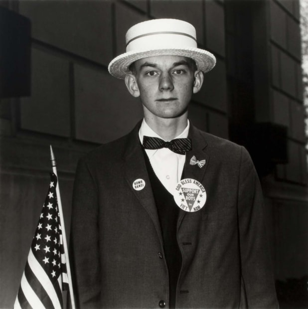 Boy with a Straw Hat Waiting to March in a Pro-War Parade, NYC, 1967