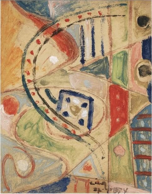 Composición (juego con líneas y colores), 1954