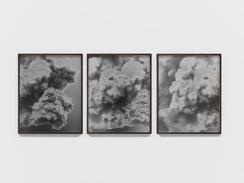 CGI Volcano: An enormous eruption fills the screen with plumes of smoke 2017/2018 (Triptych Version I), 2018