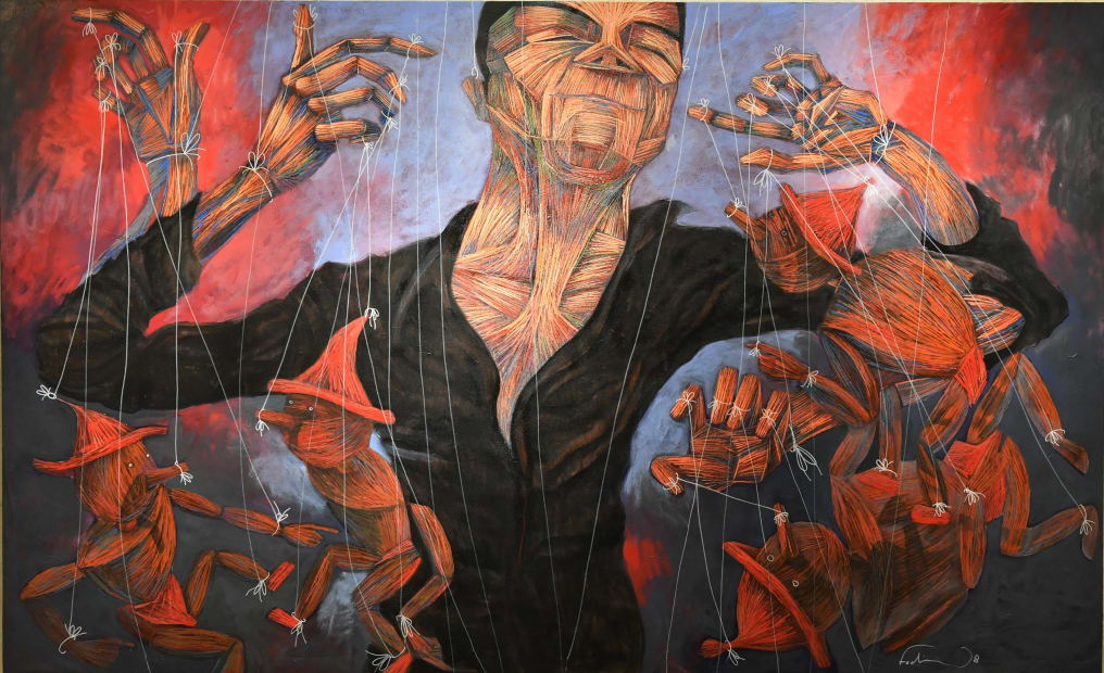 Fadi Daoud Player, 2018 Acrylic on canvas 180 x 300cm