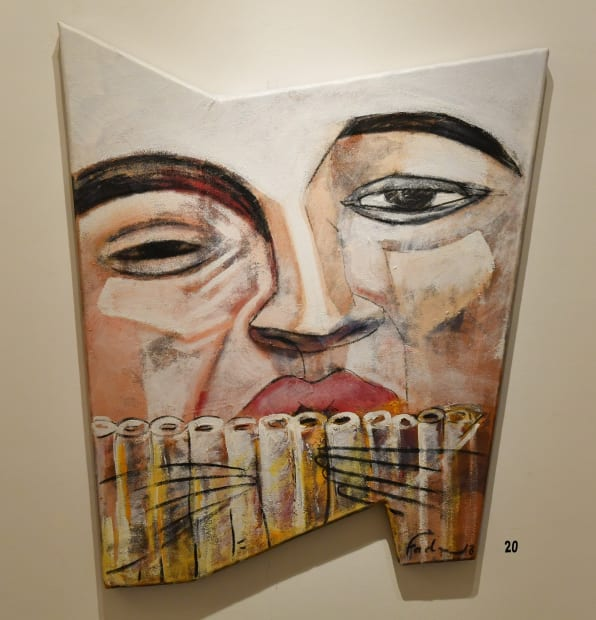 Fadi Daoud Recall, 2018 Acrylic on leather mounted on shaped wood 116 x 67cm