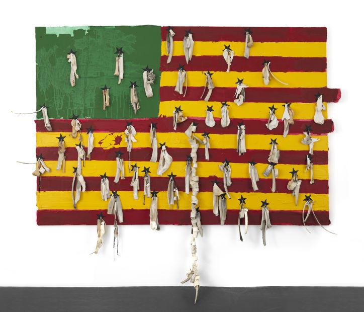 Nu Barreto: Bones (2018) :Threads Acrylic Amulets On Canvas Mounted On Wood 200 X 318 X 5 cm Courtesy LouiSimone Guirandou Gallery