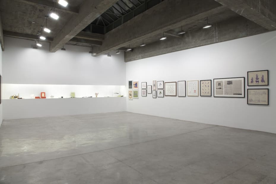 installation view of framed drawings