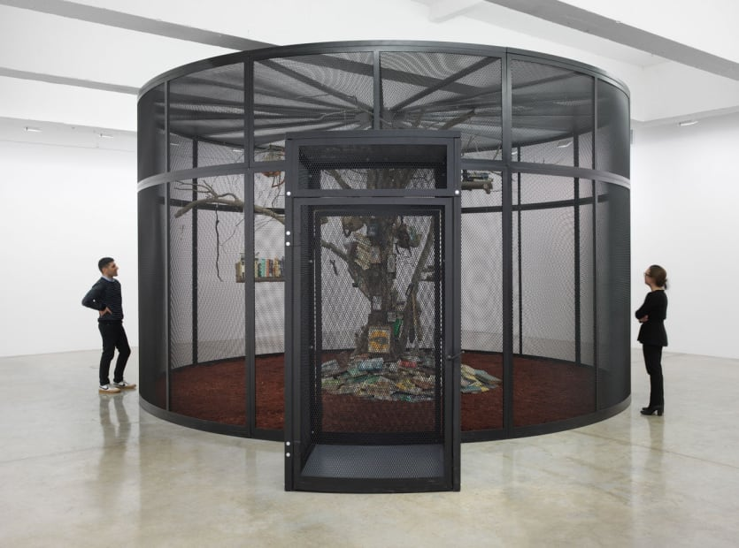 Cage with tree inside and birds and books