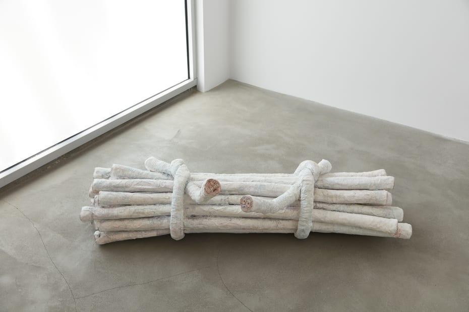 Charles Long installation view at TBG, bundle of sticks