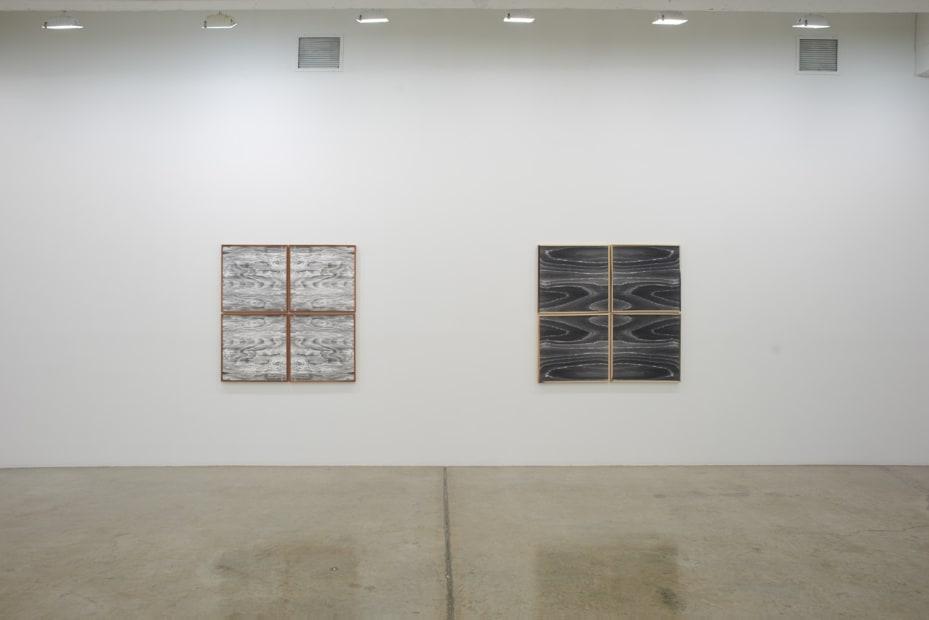 Lisa Oppenheim installation view, wood cut photographs