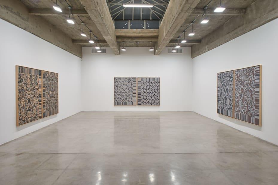 Lisa Oppenheim installation view, jacquard weaves