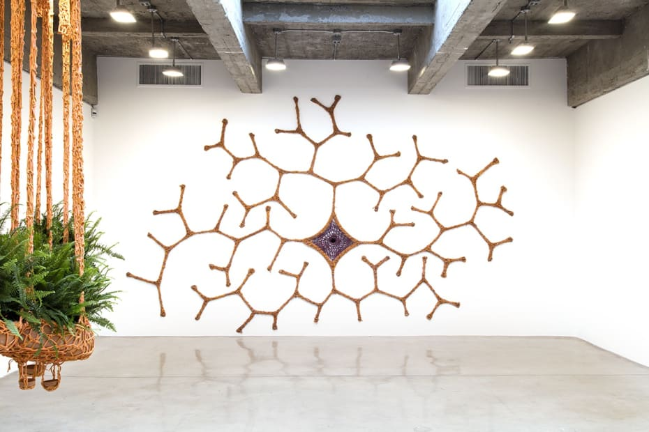 Ernesto Neto installation view at TBG with 3 sculptures