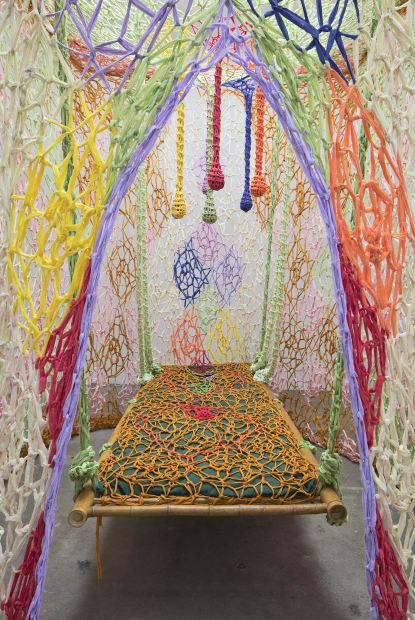 Ernesto Neto installation with healing bed