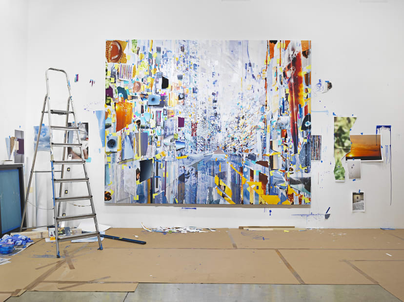 Sarah Sze, large painting with collaged images