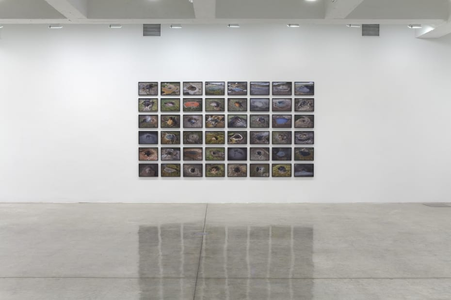 image of installation view of Eliasson Icelandic photographs in grids