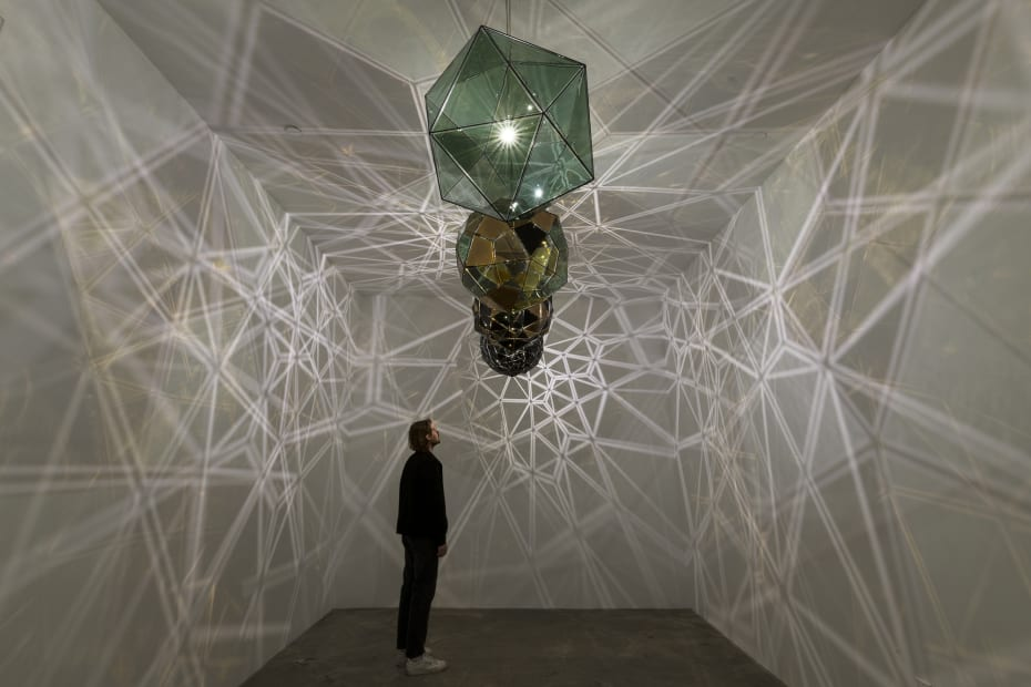 image of eliasson,lamp installation in dark room