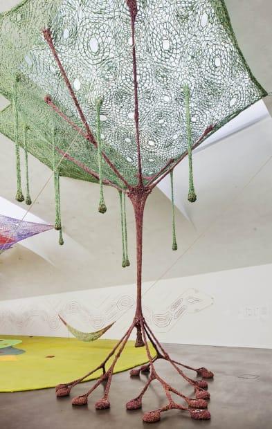 Ernesto Neto crochet tree sculpture