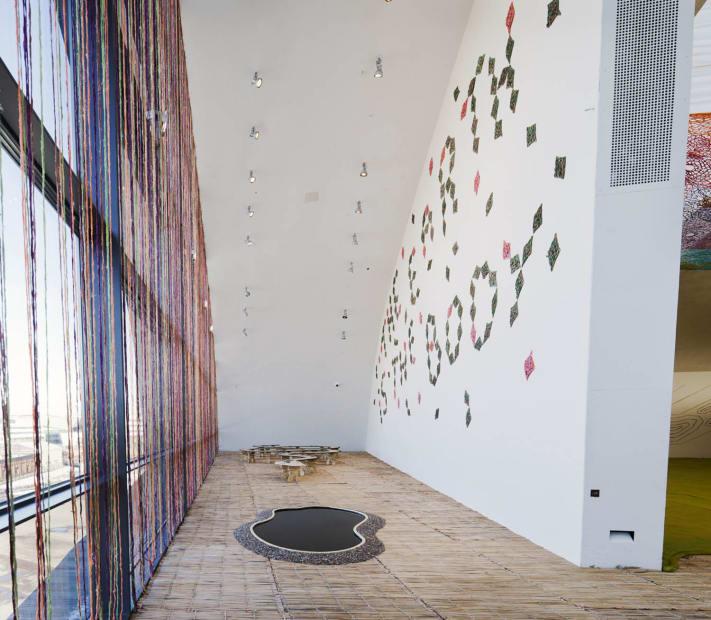 entrance with window crochet curtain