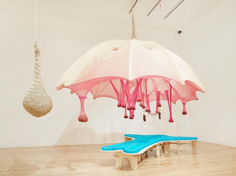 Ernesto Neto installation at the Aspen Art Museum, sculpture with umbrella
