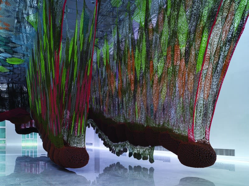 Ernesto Neto crochet hanging installation, walkway for visitors entrance