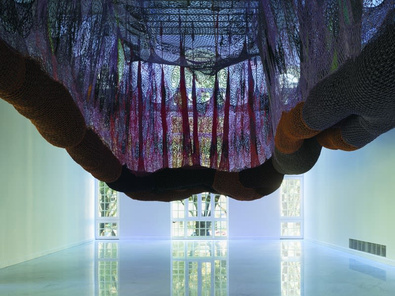 Ernesto Neto crochet hanging installation, walkway for visitors