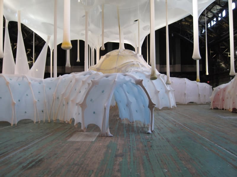 Ernesto Neto fabric sculptural form making tunnels